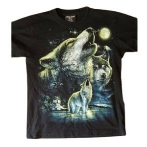Retro print wolf wolves & moon graphic T shirt tee